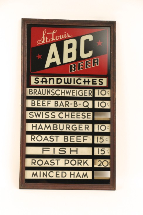 St. Louis ABC Beer Reverse on Glass Menu Board