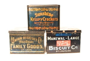 Early 1900's Biscuit Tin Containers Bakery Collectibles