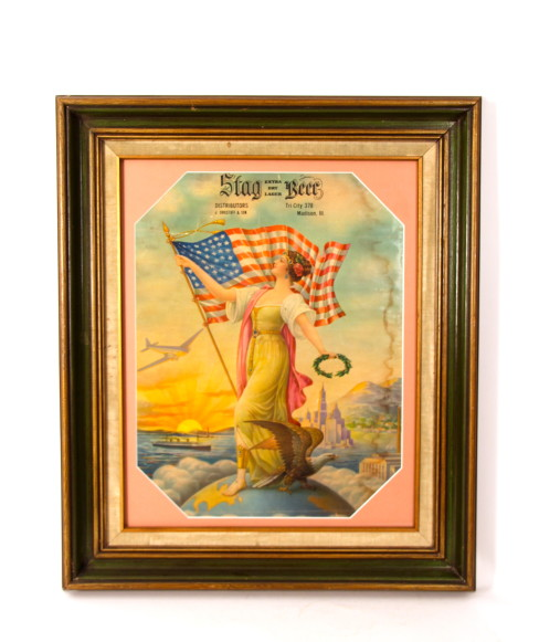 Stag Beer Lithograph Patriotic Woman, Madison, IL