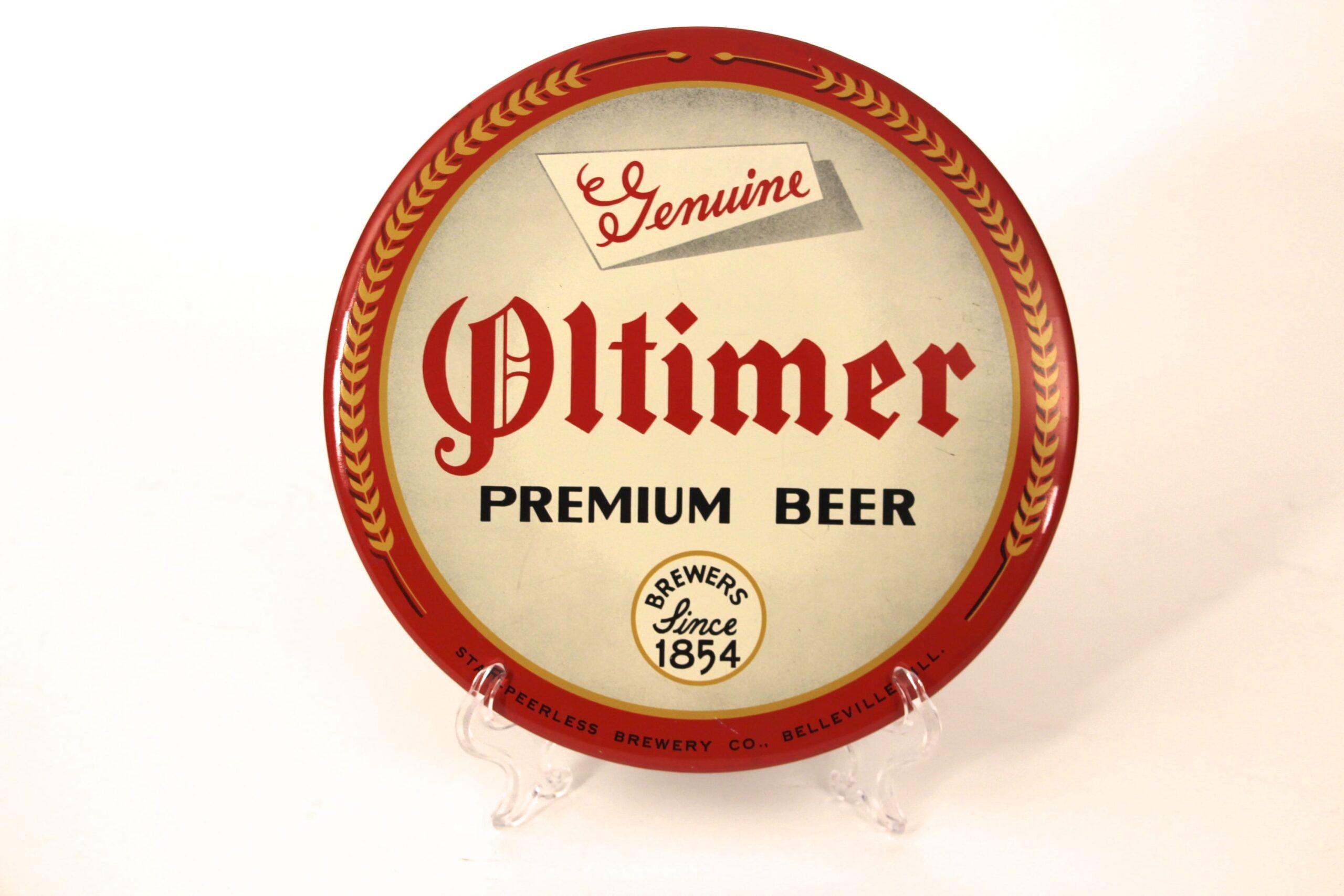 Oltimer Beer Celluloid Over Cardboard Button Sign, Belleville, IL