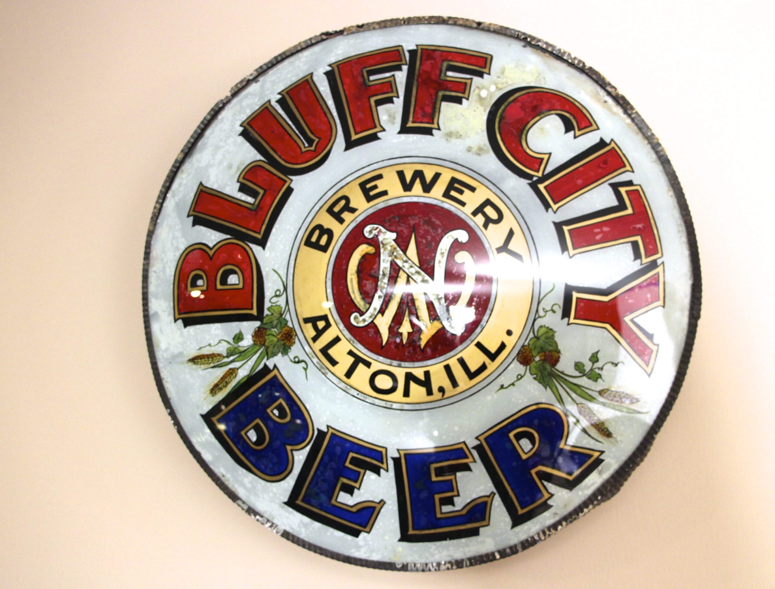 Bluff City Brewery Corner Sign From Alton, IL 1890