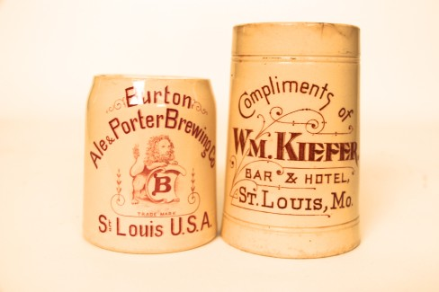 Burton Ale & Porter Brewing Co, Wm Kiefer Saloon Stoneware Mug, St. Louis, MO