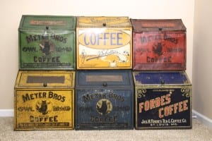 1900-1920's General Store Bulk Tin Coffee Bins