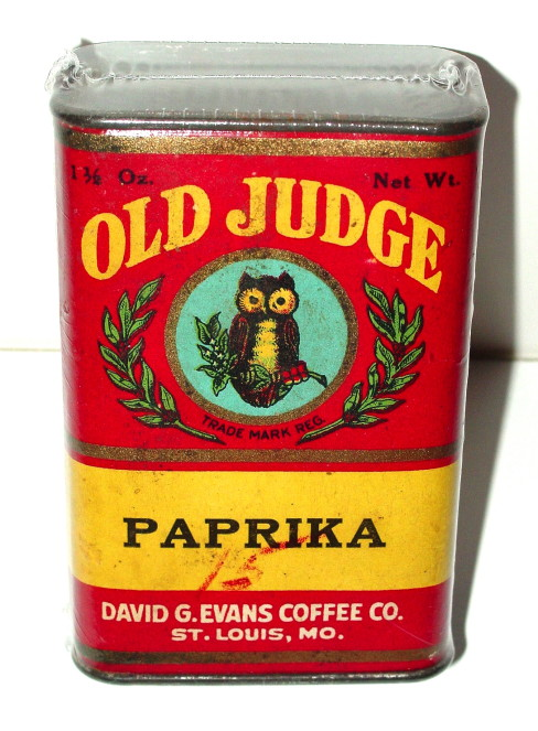 Old Judge Paprika Spice Tin, David Evans Coffee Co., St. Louis, MO