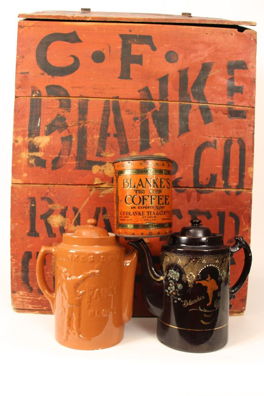 1910-1920's C.F. Blanke Coffee Storage Bin, Coffee Tin and Stoneware Coffee Pots