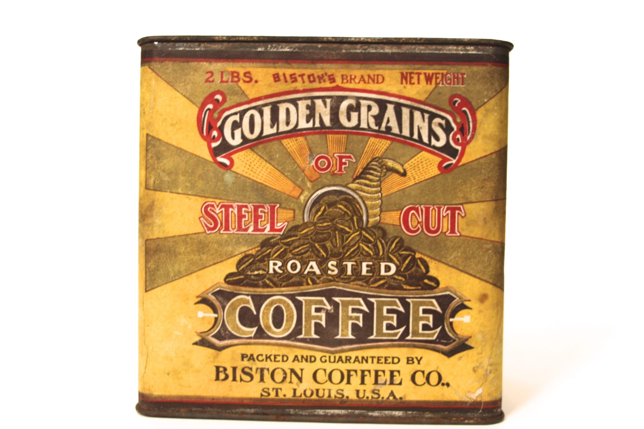 Biston Coffee Co, Tin Paper Label Box, St. Louis, MO