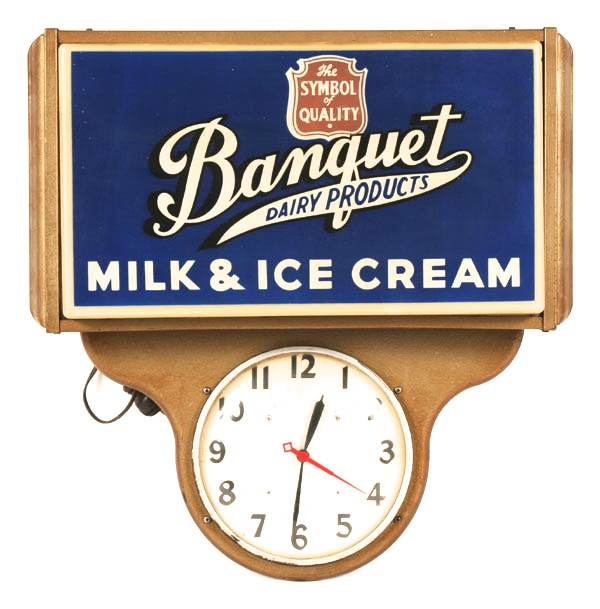 Banquet Milk & Ice Cream Advertising Clock