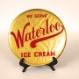 Waterloo IL Ice Cream Celluloid Tin Over Cardboard Button Sign