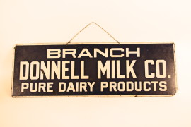 Donnell Milk Company Porcelain Sign, Pure Dairy Products, St. Louis, MO.  Circa 1930's
