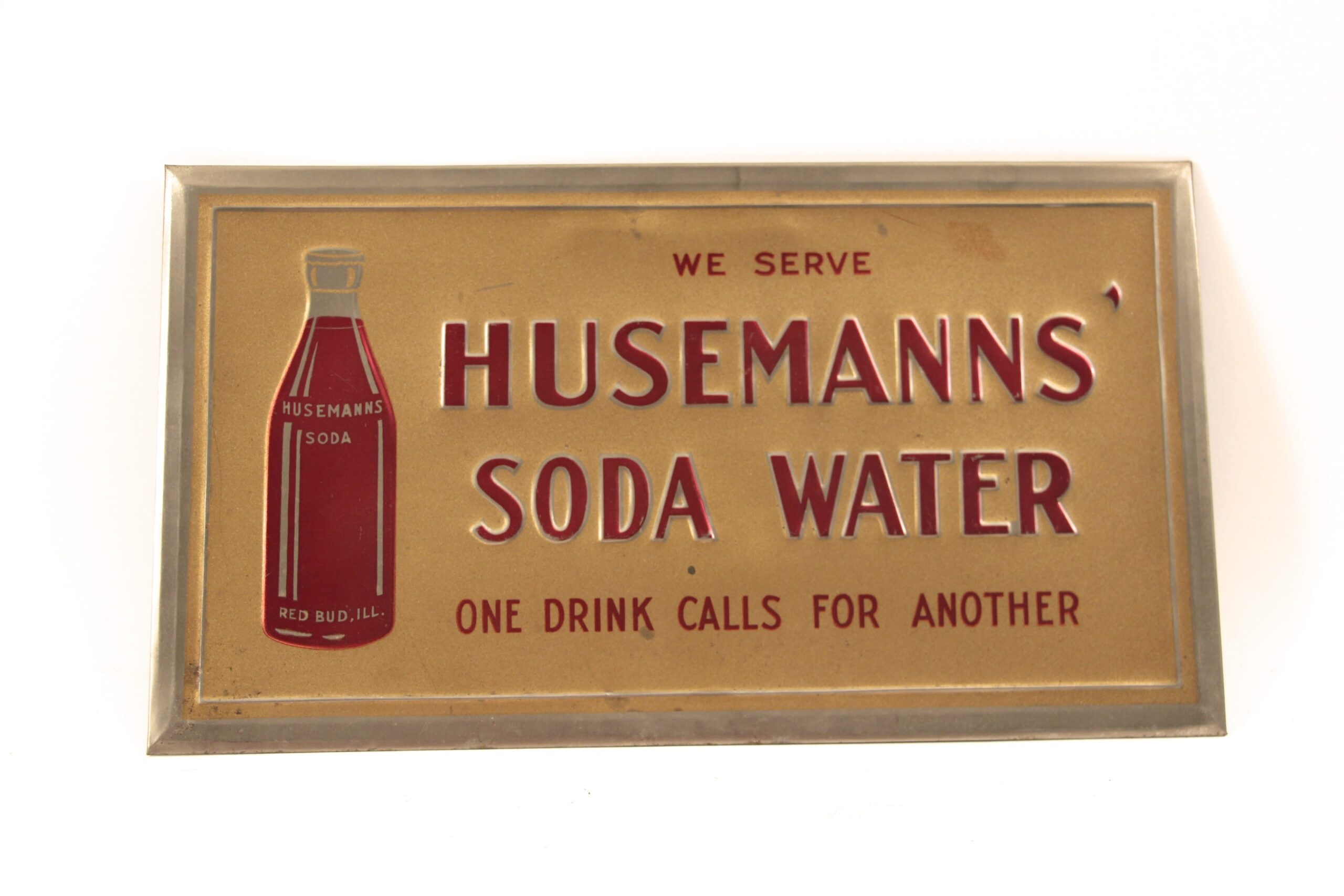 Husemann Soda Water Tin Over Cardboard Sign