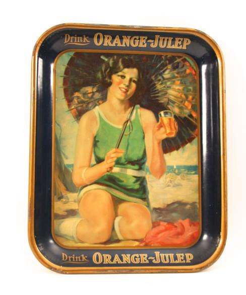 Orange Julep Soda Tin Serving Tray