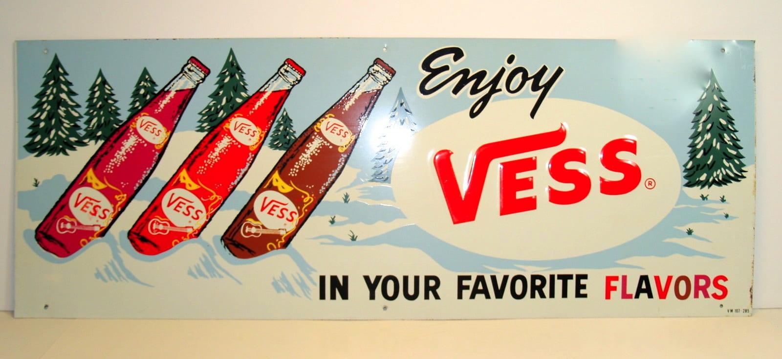 Vess Soda Tin Advertising Sign