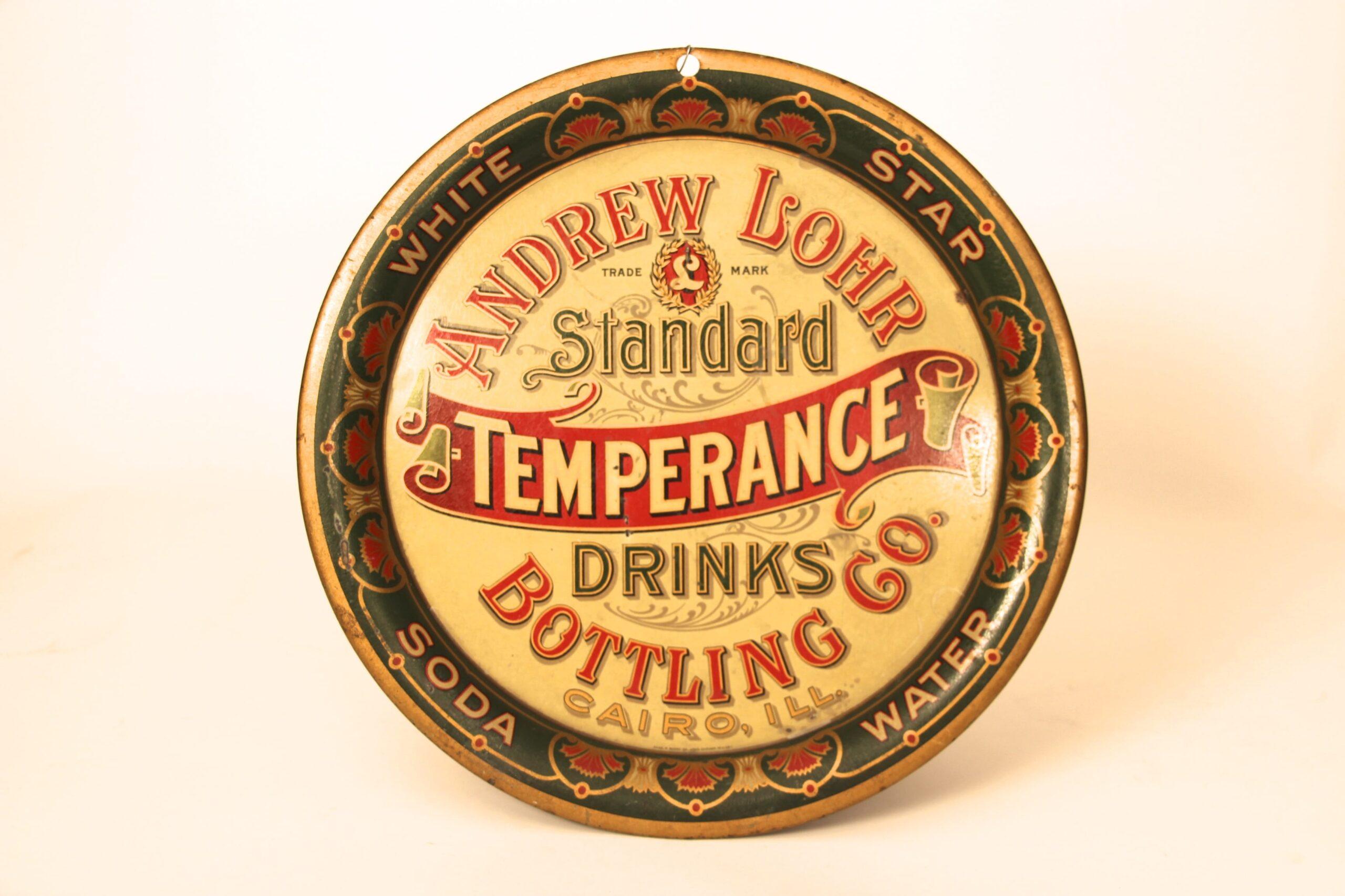 Andrew Lohr Bottling Works, Tin Serving Tray, Temperance Drinks, Cairo, IL