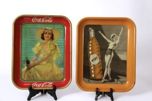 1930′s Antique Advertising Soda Tin Trays