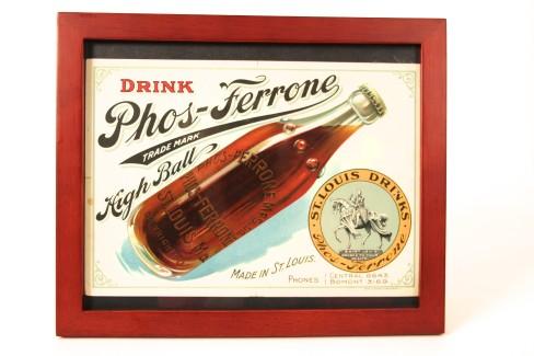 Phos-Ferrone Soda Water Cardboard Sign, St. Louis, MO