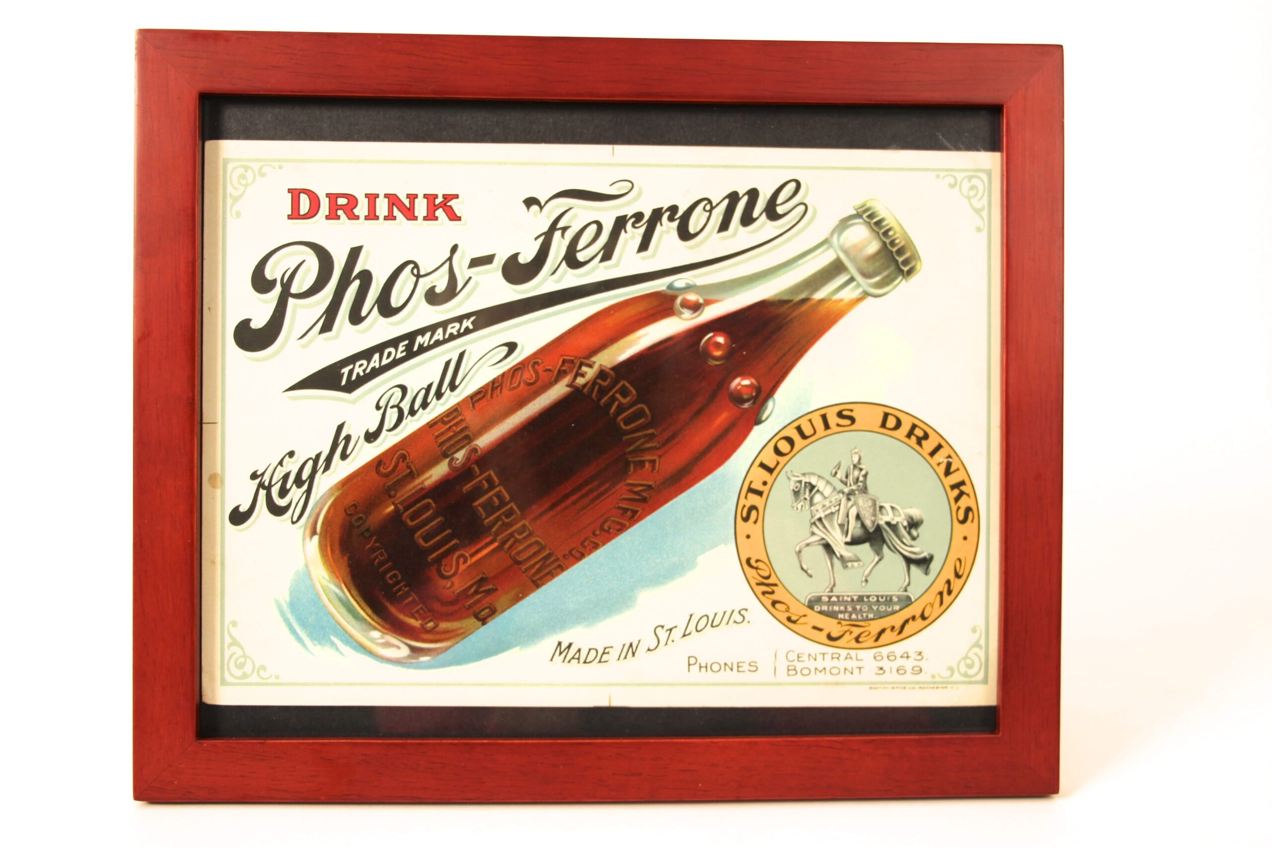 Phos-Ferrone Soda Water Cardboard Sign, St. Louis, MO