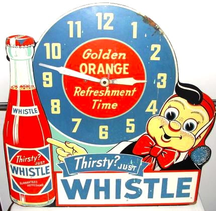 Whistle Brand Orange Soda Advertising Clock