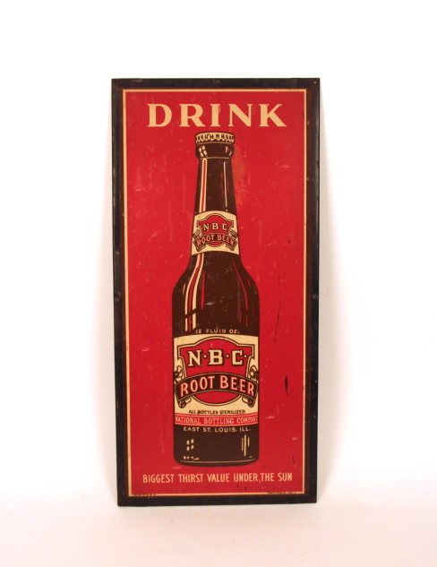 National Bottling Co., NBC Brand Root Beer Tin over Cardboard Advertising Sign, E. St. Louis, IL