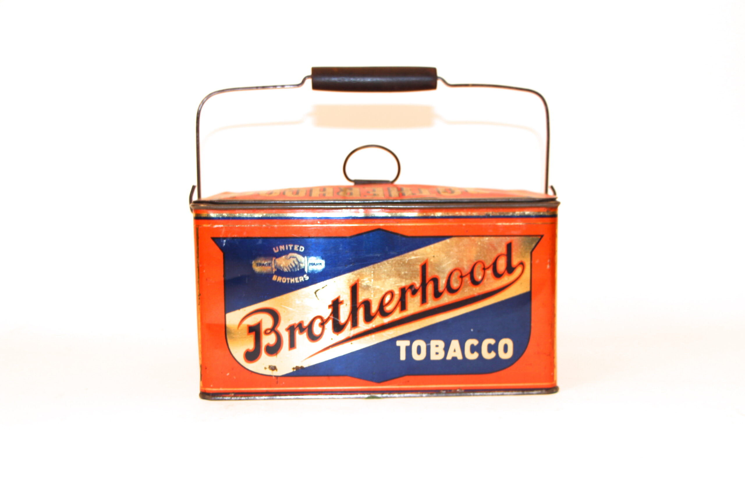 Brotherhood Cut Plug Lunch Pail Tobacco Tin