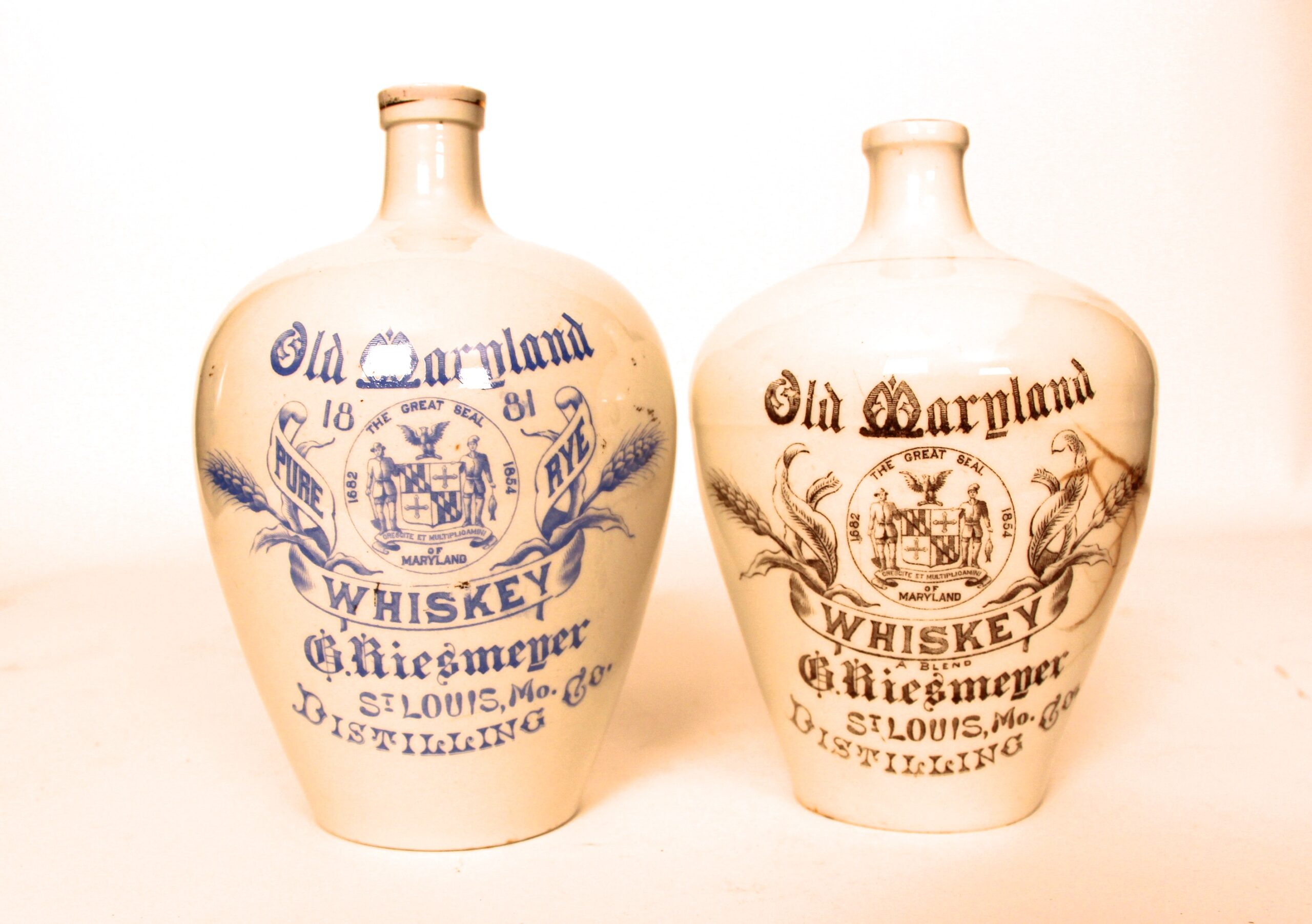 Riesmeyer Distilling Co, Pottery Whiskey Jugs, St. Louis, MO