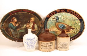 Early 1900's Whiskey Tin Serving Trays, Ceramic and Stoneware Jugs