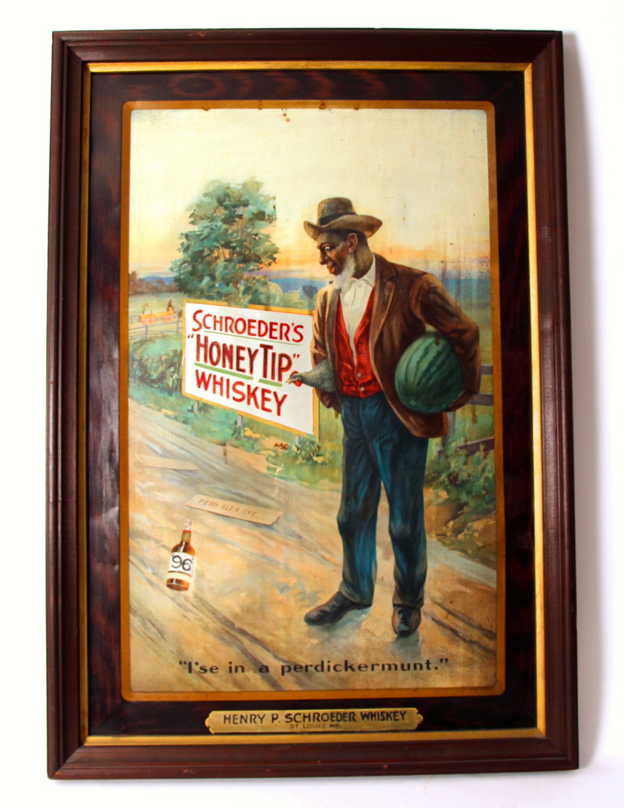 Henry P. Schroeder's Whiskey Self Framed Tin Sign Circa 1900