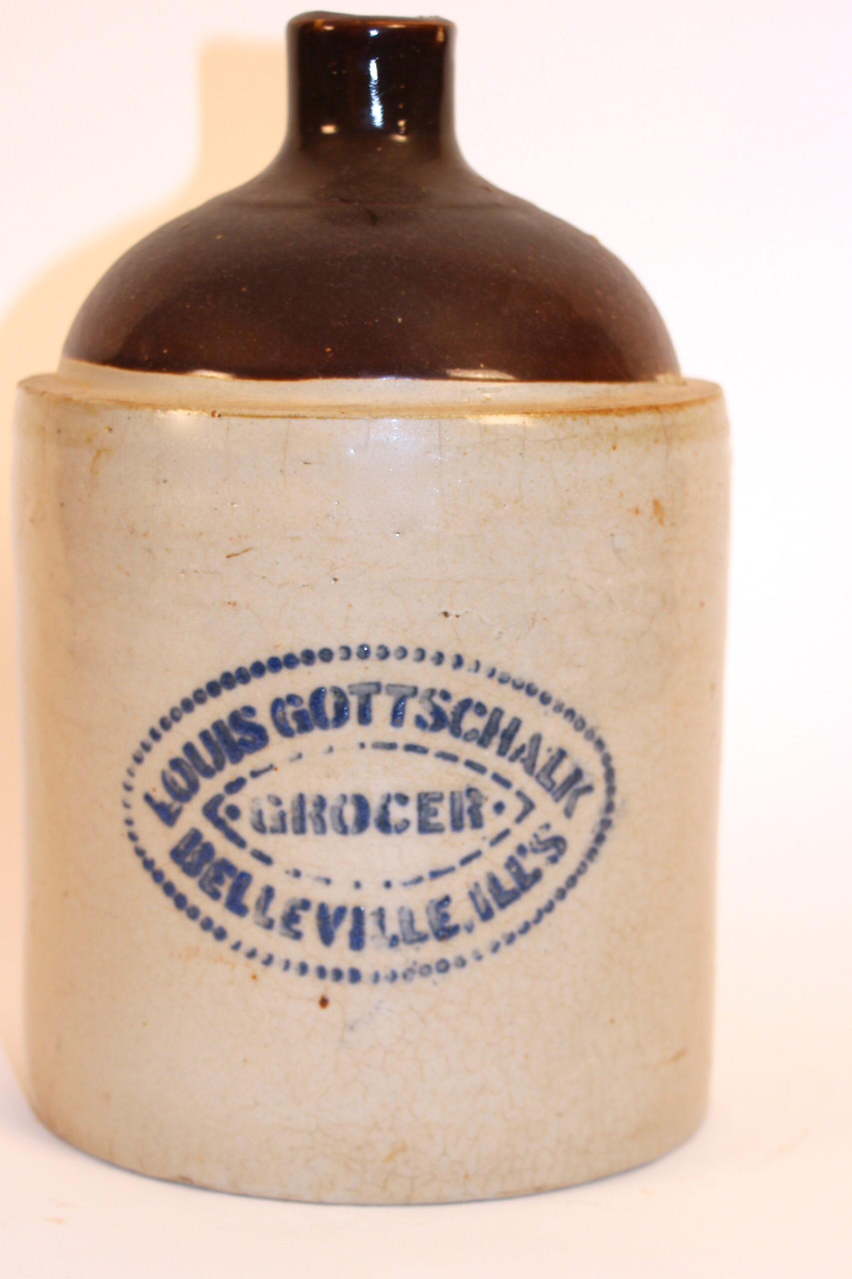 Louis Gottschalk Grocer Stoneware Jug, Belleville, IL