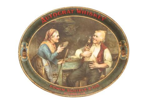 Edwin Schiele Whiskey Distillery Tin Serving Tray, St. Louis, MO