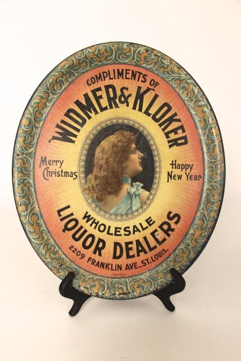 Widmer & Kloker Liquor Dealers Metal Serving Tray