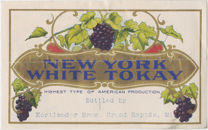 1900 New York White Tokay Wine Label