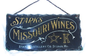 Stark's Missouri Wines Reverse-on-Glass Sign 1910