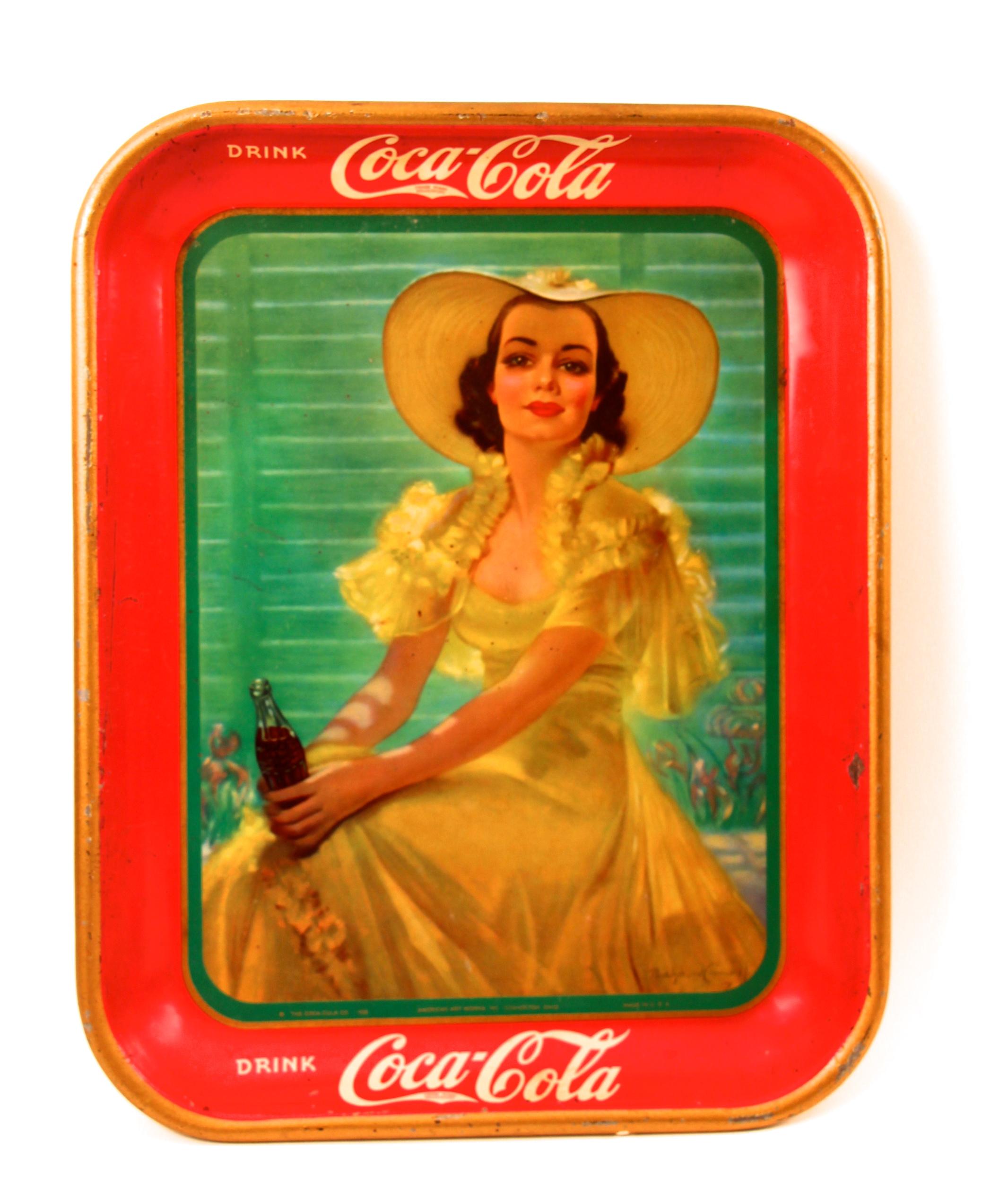 Coca-Cola Metal ServingTray Girl At Shade 1938