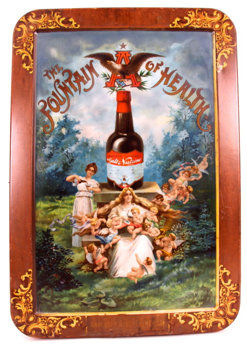 Anheuser-Busch Malt-Nutrine Self-Framed Tin Sign 1905
