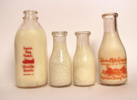 Pyroglazed and Embossed Milk Bottles 1930's - 1940's