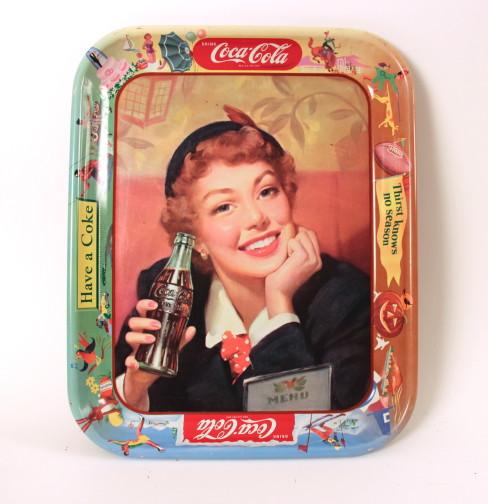 Coca-Cola Soda Tray Menu Girl 1953