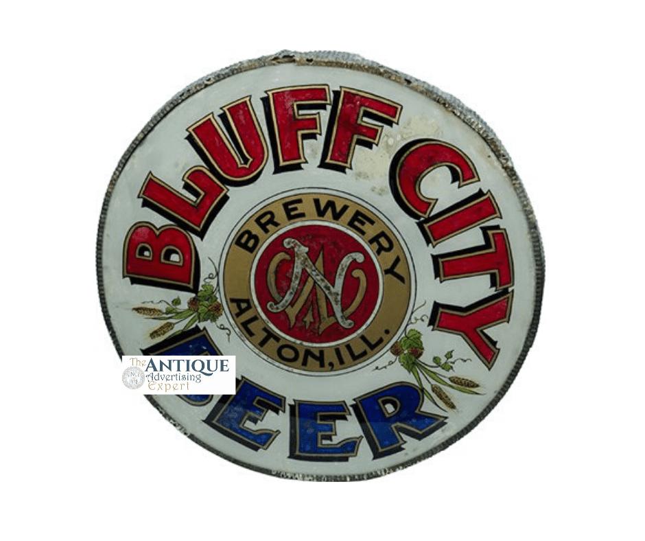 Bluff City ROG Round Corner Sign, Alton, IL. Ca. 1900