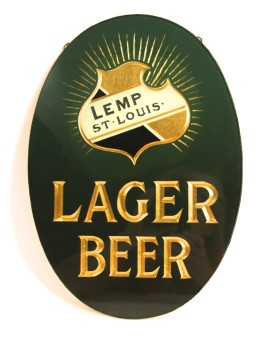 Lemp Brewery Reverse-on-Glass Sign; 1st One Known to Exist