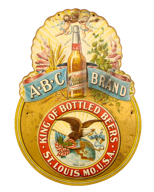 ABC Beer Tin Lithographic Diecut Sign 1900