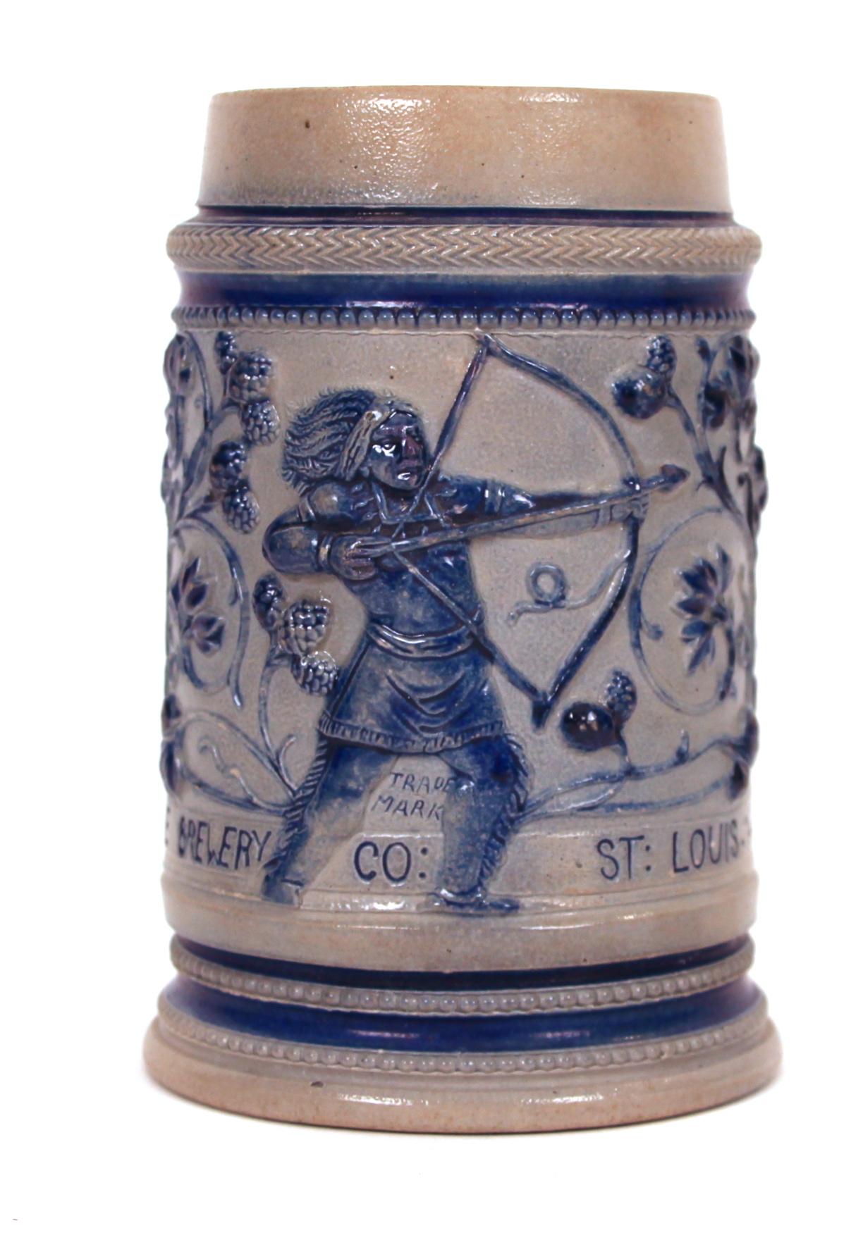Cherokee Brewery Salt-Glazed Beer Stein 1890 St. Louis, MO