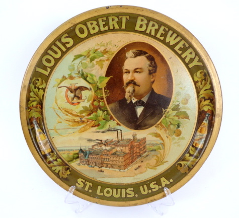 Louis Obert Brewery Beer Serving Tray, St. Louis, MO 1905