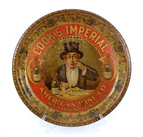 Cooks Imperial Wine Serving Tray, American Wine Co., St. Louis, MO 1902
