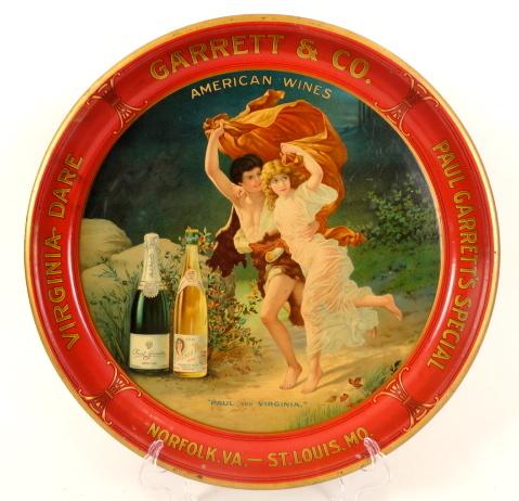 Virginia Dare Wines Tray, Garrett & Co. Norfolk, VA & St. Louis, MO, 1910