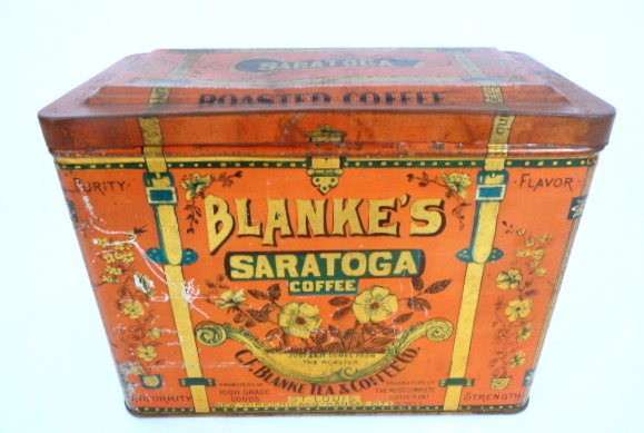 Blanke's Saratoga Coffee Tin, St. Louis, MO 1915