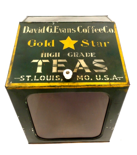 David G. Evans Coffee Co Gold Star Tea Container 1910