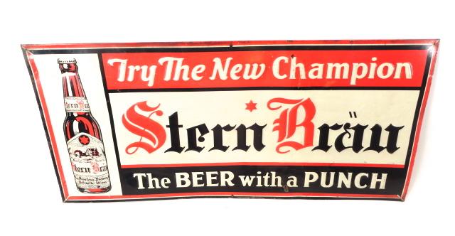 Stern Brau Beer Star-Peerless Brewery Tin Sign 1930s