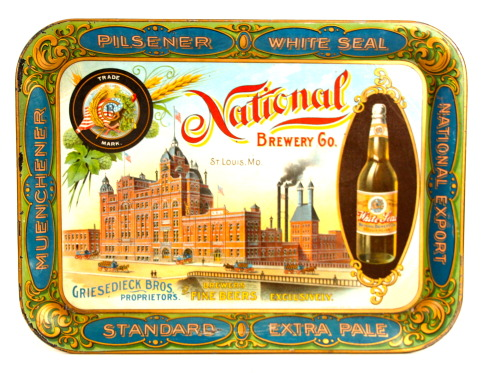 National Brewery Co. Serving Tray, Griesedieck Bros. St. Louis, MO 1910