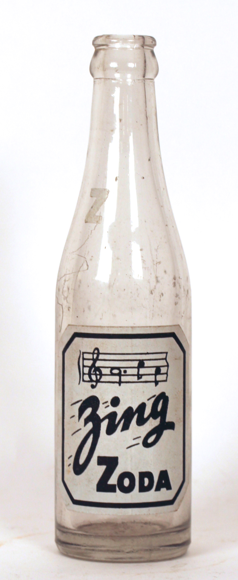Zing Zoda Painted Label Soda Bottle, Millstadt, IL 1935