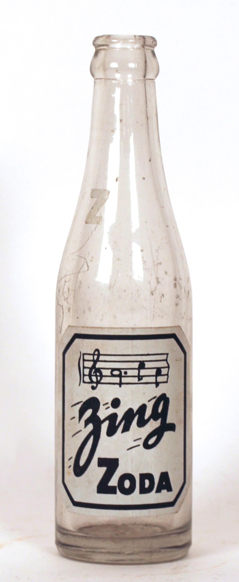 Zing Zoda Painted Label Soda Bottle, Millstadt, IL 1935