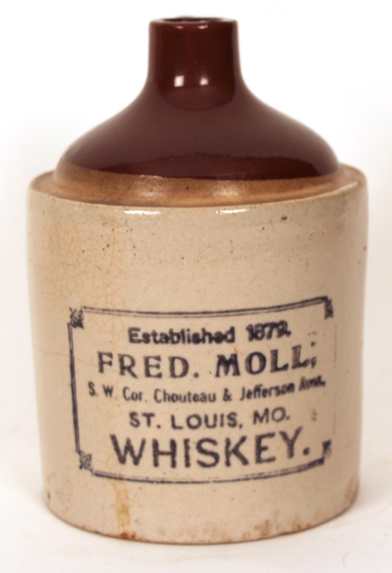 Fred Moll Whiskey Stoneware Jug, St. Louis, MO 1900