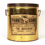 The Burgdorf Sanitary Market,  Lard Tin Can, Red Bud, IL, Circa 1920